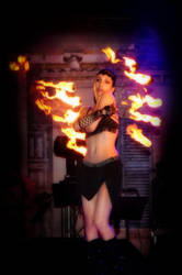 Fire dancing with fire fans (beerfest) by aliceinflames