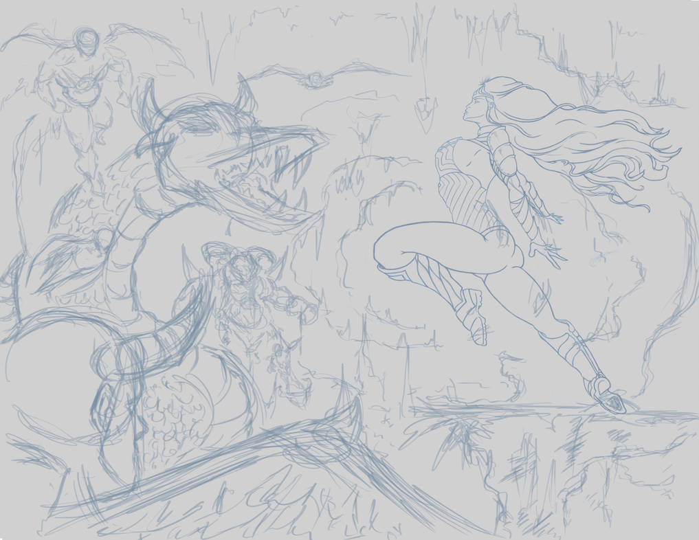 Wonder Woman Rough BG by MadMexicanMike