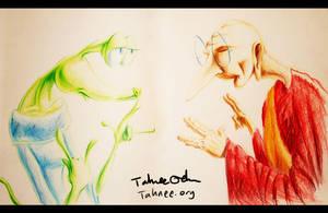 Alien and Ghandi by e-tahn
