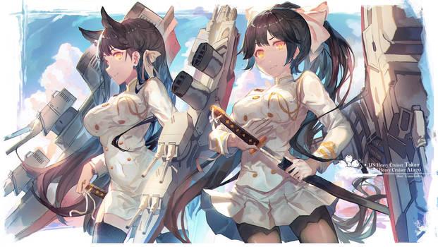 Takao and Atago by 0bakasan