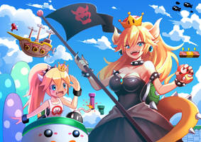 Bowsette and Jr Fanart by PixiTales