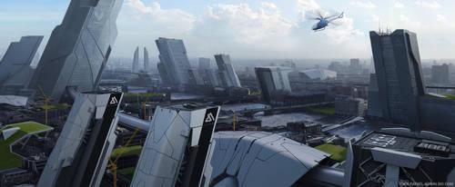 scifi city by rafaelkowalski