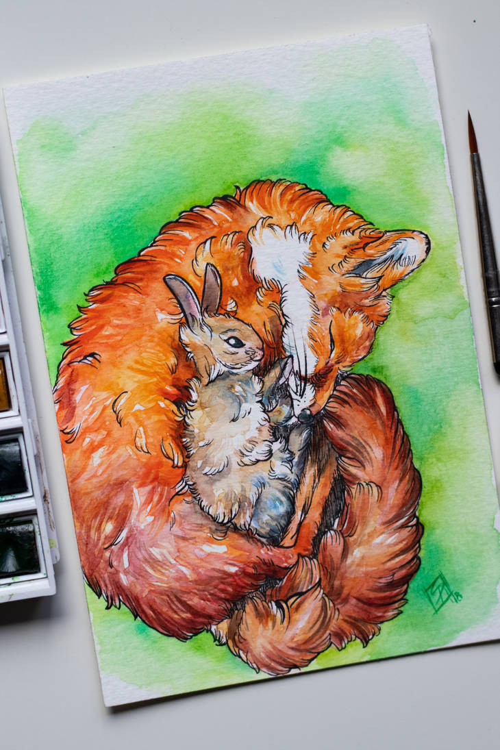 Fox and Rabbit by Paschmina