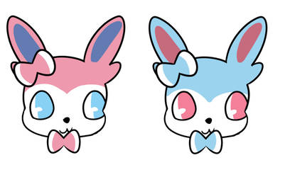 Shiny and normal Sylveon by UnovaLover