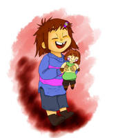 Frisk and Chara Understitched by FoxFurred-Drack