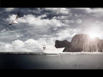 Small paper boat @ocean by JesusAvenger