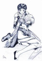 Evangelion - Tragic Pose by Holyrebelion