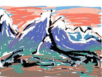 iPad Mountains Sketch by DeadWizard