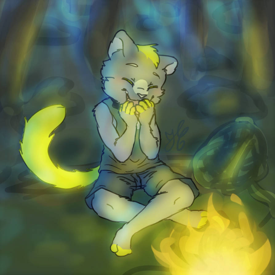 Ki at a campfire by Coline25