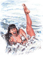 Bettie Page at the Beach by tdastick