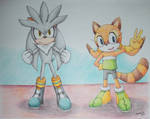 Silver The Hedgehog and Marine The Racoon by Freddy-Kun-11