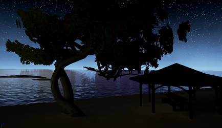 Night Time On Wahoo beach 1 by Pumpkin-Days-Game