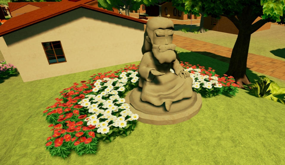 Statue with Flowers by Pumpkin-Days-Game