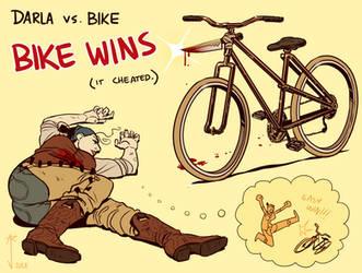 DARLA FIGHTS THE BIKE by Jackarais