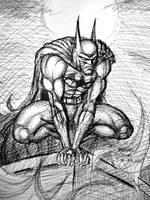 Batman Perched (pen sketch) by myconius