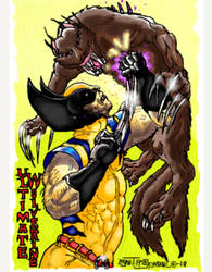 Wolverine vs cyber beast variant cover colored by LoganTRSeymour