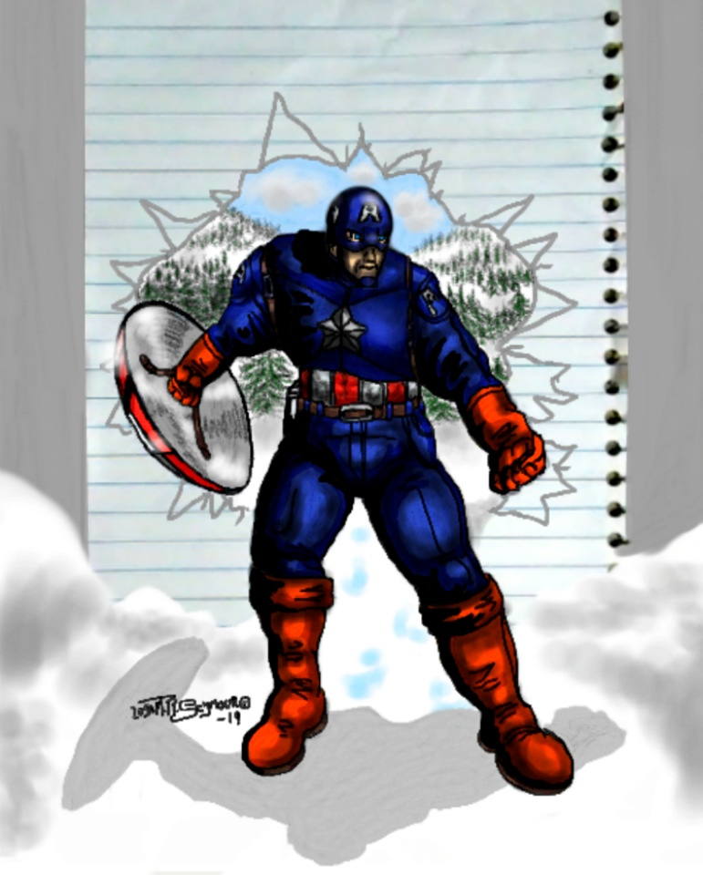 Finished! Captain America coming outta page~ by LoganTRSeymour