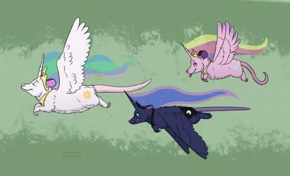 Pony princess possums by HareTrinity