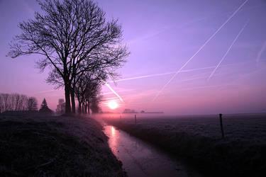 Colorfull misty sunrise.......... by Betuwefotograaf