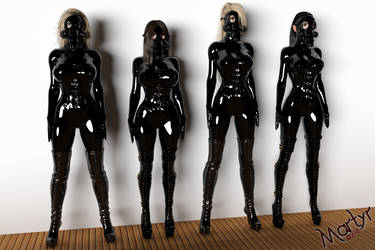 Commission - D and Some Friends Encased in Latex by MartyMartyr1