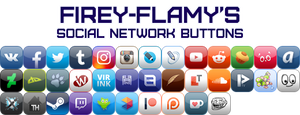 Firey-Flamy's Social Network Buttons by Firey-Flamy