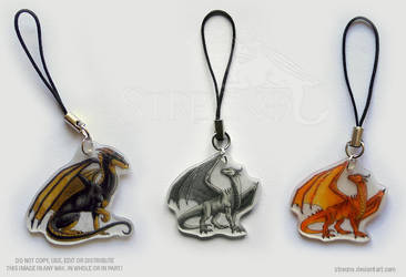 3 Dragon Mobile Charms by Strecno