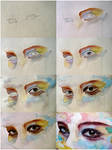Watercolor eye study, step by step by jane-beata