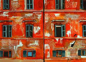 Wall I, Orange - watercolor study by jane-beata
