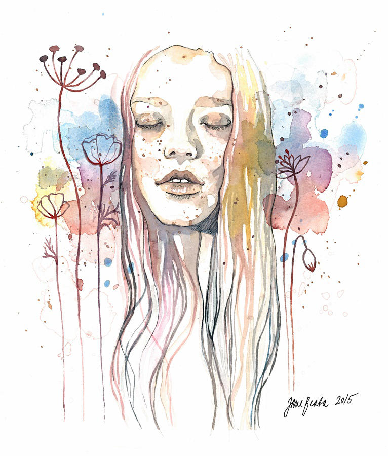 Meditation, watercolor by jane-beata