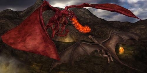 Dragon fight by MinayasStudio