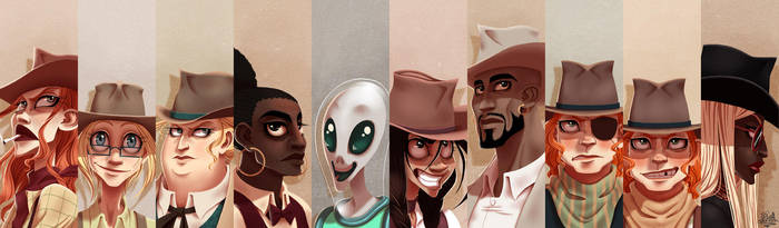 A row o'faces by JackPot-84