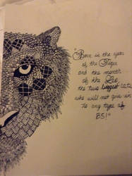 Half zentangle tiger and quote by notsuchanepicperson