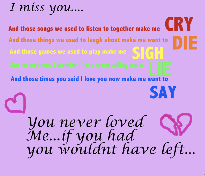 i miss you break up songs
