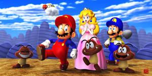 Mario and Goomba and Peach by GEKIMURA