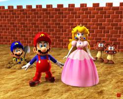 Mario and Luigi and Peach by GEKIMURA
