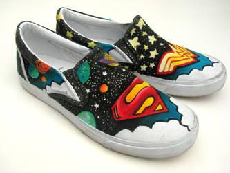Superman + Superwoman shoes by AquaTigerFire