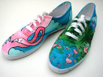 Caroline's Flamingo Shoes by AquaTigerFire