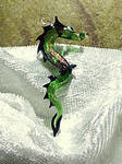 Green + golden Dragon Pendant by Glasmagie