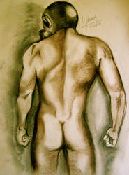 hombre desnudo con mascara by MLinares