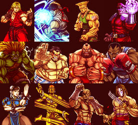 Street Fighter 2 Line up by EddieHolly