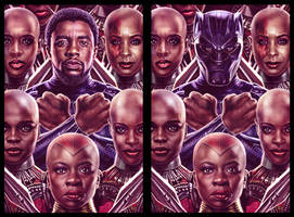 Black Panther and his Dora Milaje by EddieHolly