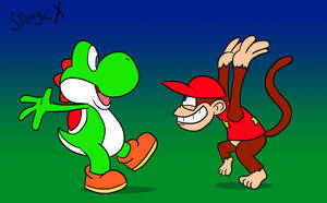 Yoshi and Diddy by SpongicX