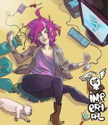 girl on floor by roaldiswack