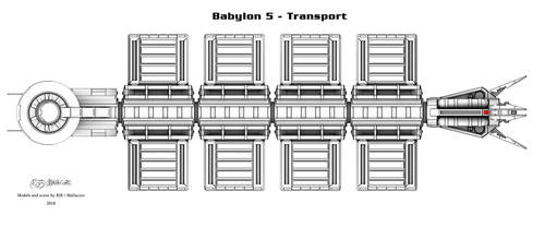 Babylon 5 - Transport (Shaded line render) by Mallacore