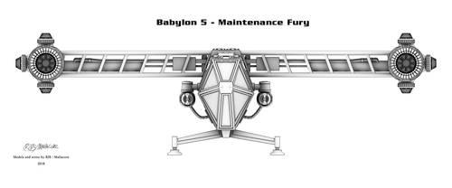 Babylon 5 - Maintenance Fury (Shaded line render) by Mallacore