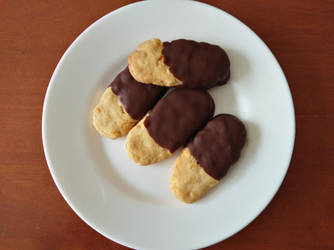 Chocolate-dipped orange cookies by flameshaft