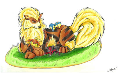 ArtTrade : Arcanine and friends by Caronat
