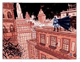 Batman in Gotham (colour!) by JasonCopland
