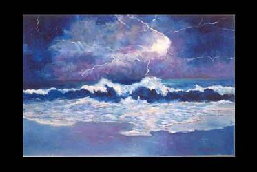 Lightning Over Ocean Beach by barandiaran