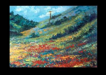 Slanting Hills of Red Flowers by barandiaran